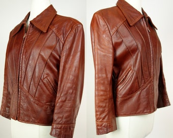 70s 80s Vintage brown leather jacket, yoked lined cropped coat, Neto, Medium to large