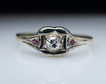 Vintage Late Edwardian Diamond and Ruby Engagement Ring in 14k Yellow & White Gold Edwardian Engagement Ring Art Deco Ring