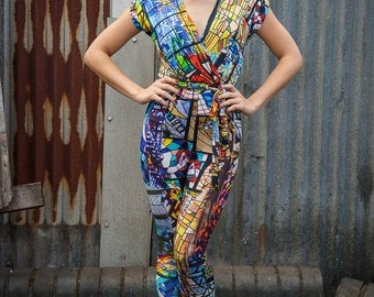 Cross Front Jumpsuit in Stained Glass Digital Print Jersey by Get Crooked