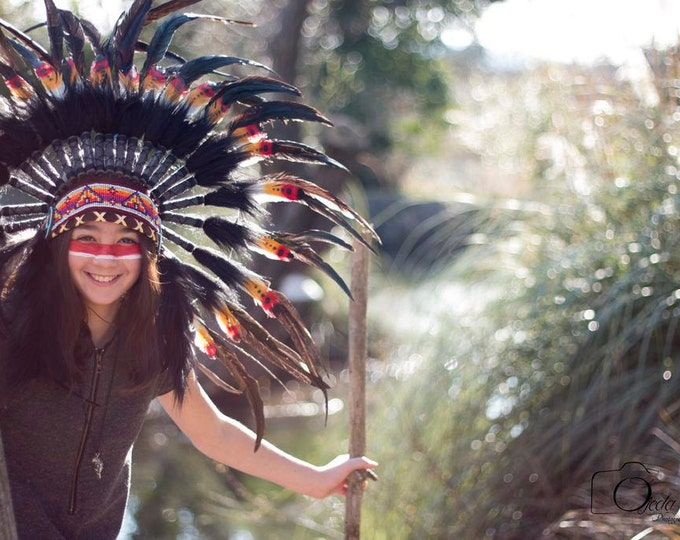 N41- From 5-8  years Kid / Child's: double feather Headdress 21 inch. – 53,34 cm