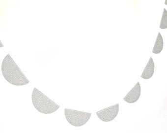 Silver glitter scallop garland,  - shimmer garland, silver shimmer garland, glitter bunting, silver glitter wedding, party decor,