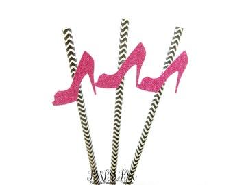25 Black Chevron Paper Straws with Pink Glitter High Heels - birthday straws, high heel straws, glitter heel straws, shoe straws