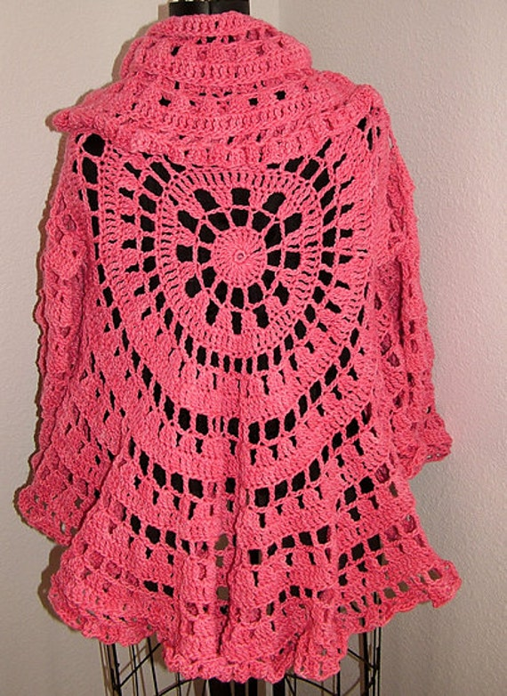 Free Crochet Pattern Circle Sweater : Crochet Circle Jacket /Sweater Easy Pattern Etsy