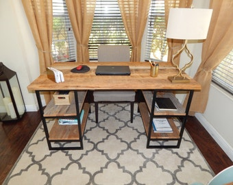 Reclaimed Wood Desk with Metal Base Shelving