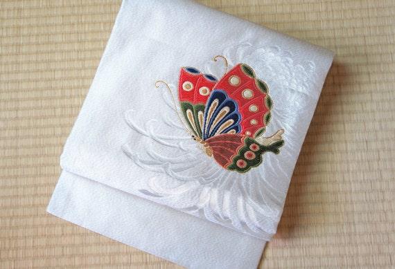 Silver obi belt embroidered butterfly, butterfly obi belt, silver metallic Nagoya obi, vintage silk obi belt, silver grey kimono belt flower