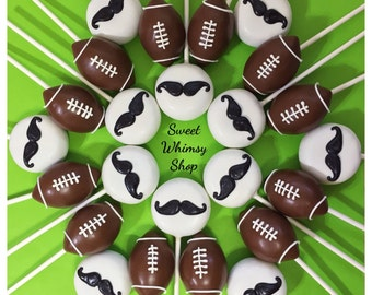 12 Mustache & Football Cake Pops for husband, boyfriend, baby shower, first birthday, little man, beau, mister, college, brother, father