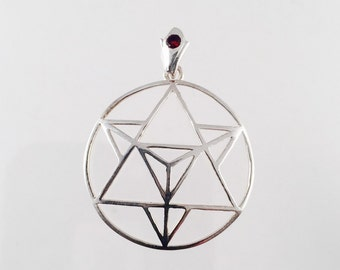 Etsy your place to buy and sell all things handmade sacred geometry sterling silver merkaba pendant with custom garnet bail mozeypictures Gallery