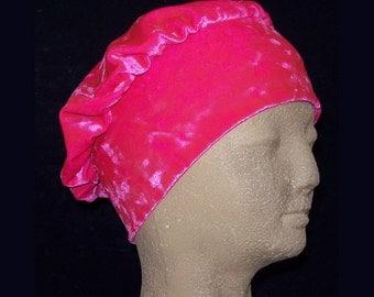 Beret Hot Pink Crushed Velvet Head Cap  - Stretch Velvet Slip On Cap Hat Turban