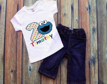 Toddler Shirt. Birthday Shirt. Birthday Boy. Sesame Street Shirt. Birthday Girl. Cookie Monster Shirt. Themed Birthday Shirt. Sesame Street