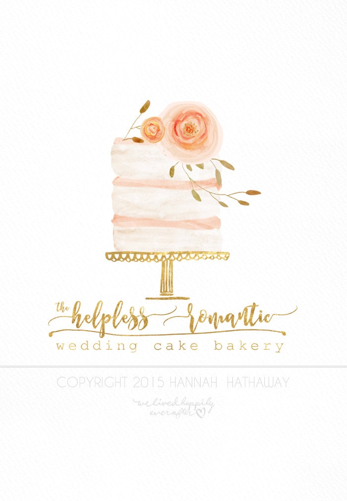 Vintage Naked Wedding Cake Logo Watercolor Painted Premade