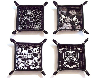 Gothic Skulls Roses Spider Web Bats Valet Tray Accessory Holder