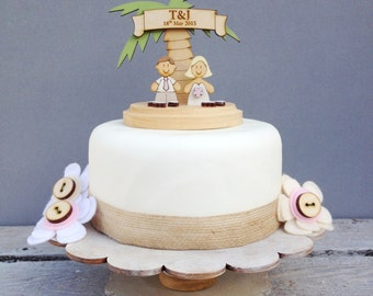 Beach wedding topper - shabby chic style personalised cake topper