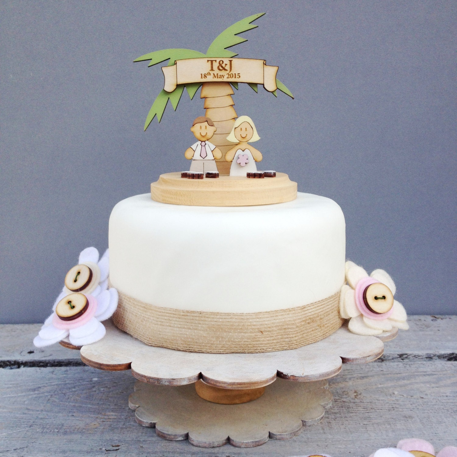 Beach wedding topper shabby chic style personalised cake
