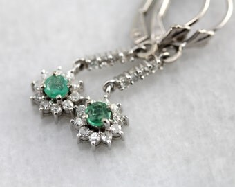 Emerald and Diamond Floral Drop Earrings, Lovely Bridal Gift AD6HMM-N