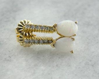 Long Diamond and Opal Drop Earrings in Yellow Gold L2VL7K-D