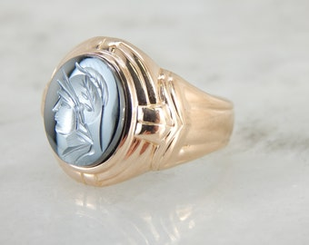 Roman Solider, Hematite Intaglio Men's Ring JT5WXR-N