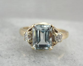 Simple Vintage Aquamarine and Diamond Ring 1VH7R6-P