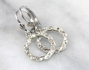 A Wreath of Diamonds: Vintage White Gold and Diamond Drop Earrings