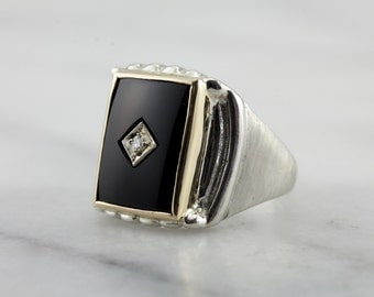 Men's Black Onyx and Diamond Ring, Bold Retro Two Tone Ring  JFTZD0-N