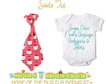 Santa Tie For Noah's Boytique Bodysuit - Christmas Tie - Cute Christmas Ties - Baby Boy Ties - Holiday Tie