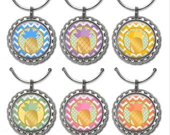 Pineapple Wine Charms - set of 6 wine charms