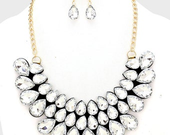 Crystal Cluster Bib Statement Necklace with Earrings