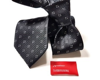 Silk Tie with Black Silver and Charcoal Dots