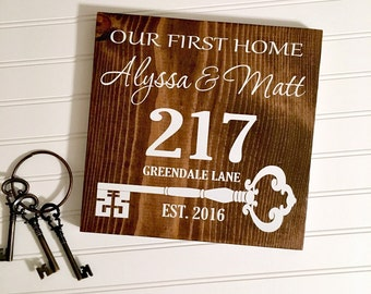 Our First Home / Wooden Address Sign / Reclaimed Wood Sign / Housewarming Gift Idea / 1st Home / Established Year