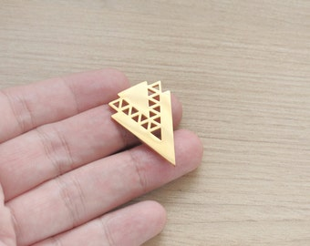 1 pcs of Geometric 18k Gold Plated Triangle Stainless Steel Pendant