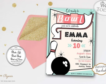 INSTANT DOWNLOAD - Girl Bowling Birthday Invitation - Retro Bowl Invite - Girl Bowling Birthday - Editable Invite - Vintage Bowling - 0205