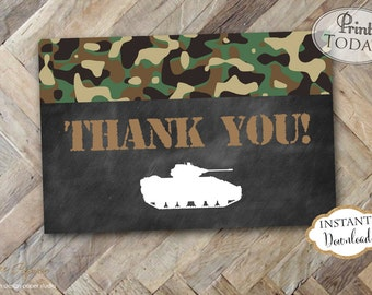 INSTANT DOWNLOAD - Army Thank You Card - Army Tank Camo Thank You Note - Army Military Birthday - Camouflage Card - 0196