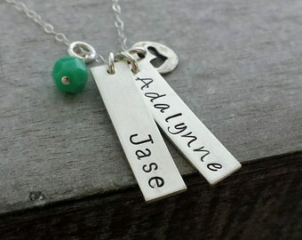 Sterling Silver Name Necklace, Two Name Charms, Personalized Necklace, Teal stone and Heart Charm