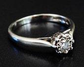 Vintage Birmingham Ladies Diamond Solitaire Engagement Ring in Solid Platinum FREE POSTAGE
