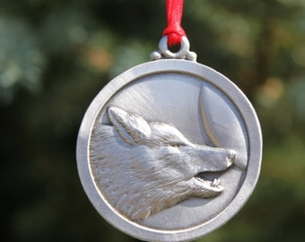Hand Made Lead Free Pewter Wolf Ornament decoration Howl at the Moon gift Made in Michigan United States Free Shipping