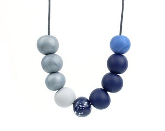 Grey and Navy Necklace, Navy and Silver Necklace, Navy Statement Necklace, Navy and grey Bead Necklace, Navy Accessories, Wearable art