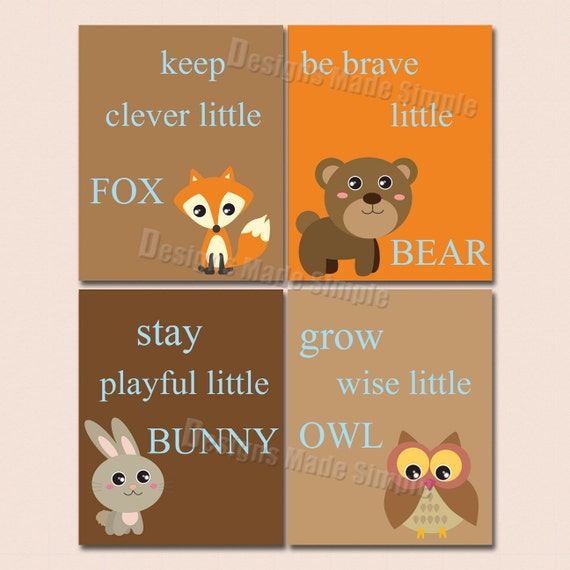 Clever Fox: Nursery Art Signs Keep Clever Fox Be Brave Bear Grow Wise