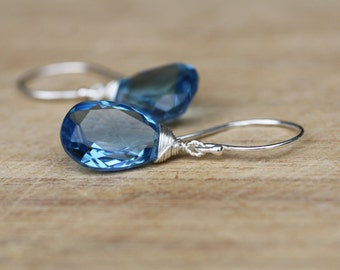 Light London Blue Topaz Wire Wrapped Earrings in Solid Sterling Silver , December Birthstone , 4th Anniversary , From Canada , Periwinkle