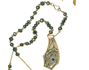 Peacock Glamor Pendant Necklace and Earrings Set