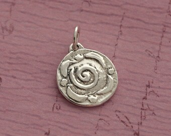 Sterling Silver Rose Charm – Sterling Silver Charm – Sterling Rose Charm – Sterling Charm Silver Rose Jewelry – Sterling Silver Flower Charm