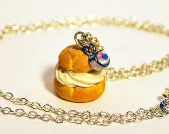 "Cream Puff Charm Necklace - 16"""