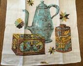Vintage Unused Tea Kitchen Towel, Light AquaTeapot,  Dish Tea Linen, Retro 1960's