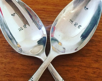 Vintage silver plated desert spoons - hand stamped with MRS & MR - Wedding gift