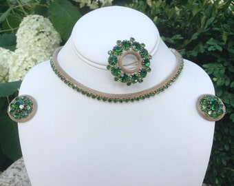 Vintage Weiss Necklace Earrings Brooch Parure Emerald Stones