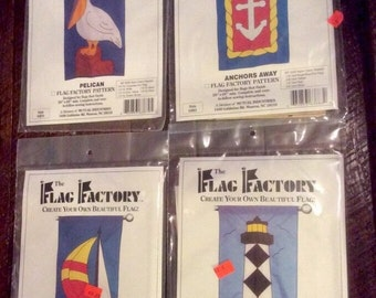 Lot Of 4 Patterns From The Flag Factory Nautical Themed, Sailboat, Lighthouse, Anchor, Pelican UNCUT New