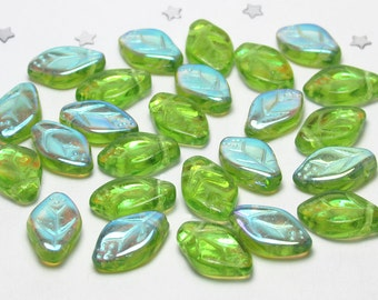 Czech Glass Leaf Bead 12mm x 8mm - Transparent Peridot Green Aurora Borealis AB - 25 beads - Spring Green, Light Green, Pantone Greenery