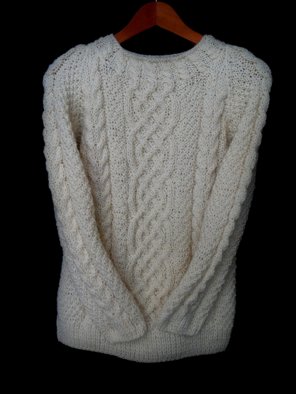 Wool Sweater Grey: Hand Knit Wool Sweater