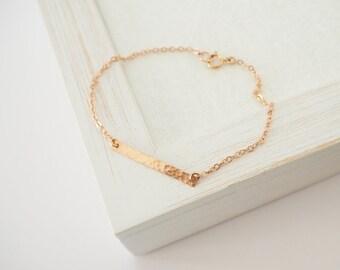 Rose Gold Bracelet, Rose Gold Bar Bracelet, Hammered Bar Bracelet