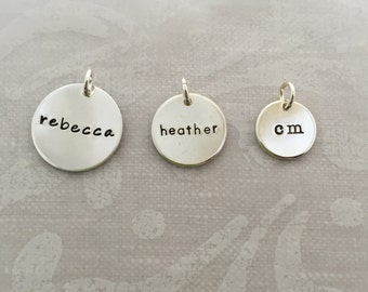 """Sterling Silver Name Charm 3/4"""" disc"""
