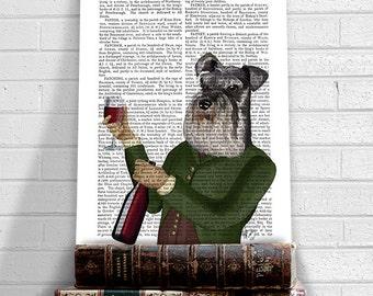 Miniature Schnauzer Wine Snob - schnauzer gifts Gift for wine lover wine art décor funny dog art classy dog wine humor funny kitchen décor