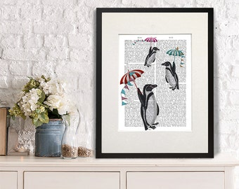 Penguin Art - Floating - penguin print penguin gift penguin nursery art penguin wall art cute penguin décor penguin poster penguin picture